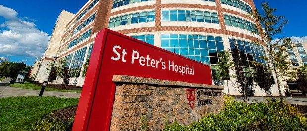 Exterior shot of St. Peter's Hospital in Albany, New York