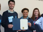 "Albany County Legislator Samuel Fein visited St. Peter's Hospital to deliver a proclamation declaring Match 17 to be ""Colorectal Cancer Awareness Day"" in Albany County."
