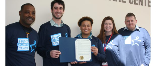 Albany County Legislator Samuel Fein visited St. Peter's Hospital to deliver a proclamation declaring Match 17 to be