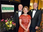 The Tech Valley Business Hall of Fame inducted Dr. William J. Cromie, former president and CEO of CDPHP; Maureen Lewi, accepting for her late husband Ed Lewi, former president and CEO of Ed Lewi Associates, and Dr. James K. Reed, right, president and CEO of St. Peter's Health Partners, during a ceremony Wednesday in Colonie.