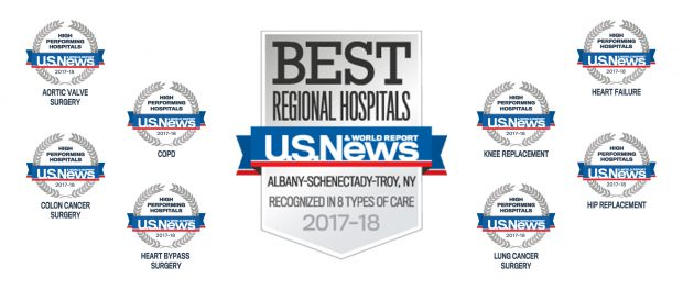 U.S. News & World Report has awarded St. Peter's Hospital the highest ranking in the Capital Region and one of the highest rankings in New York state for excellent quality of care.