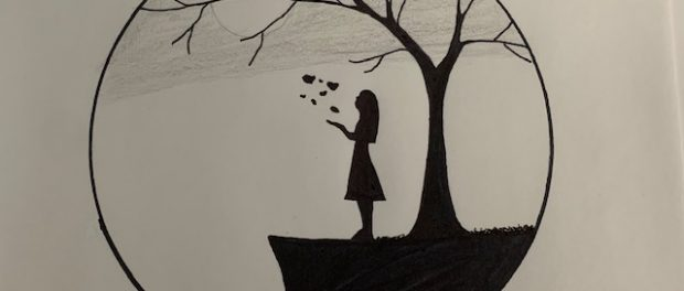 One of Izzy's submissons. A ciricle in black on a white background. Inside the circle is a tree, with branches reaching the edge of the ciricle. The tree stands on a ledge, to the left is a girl in a dress, hand up, blowing leaves away. A shaded grey sky and a sun are behind the tree branches. The entire image is drawn in black.